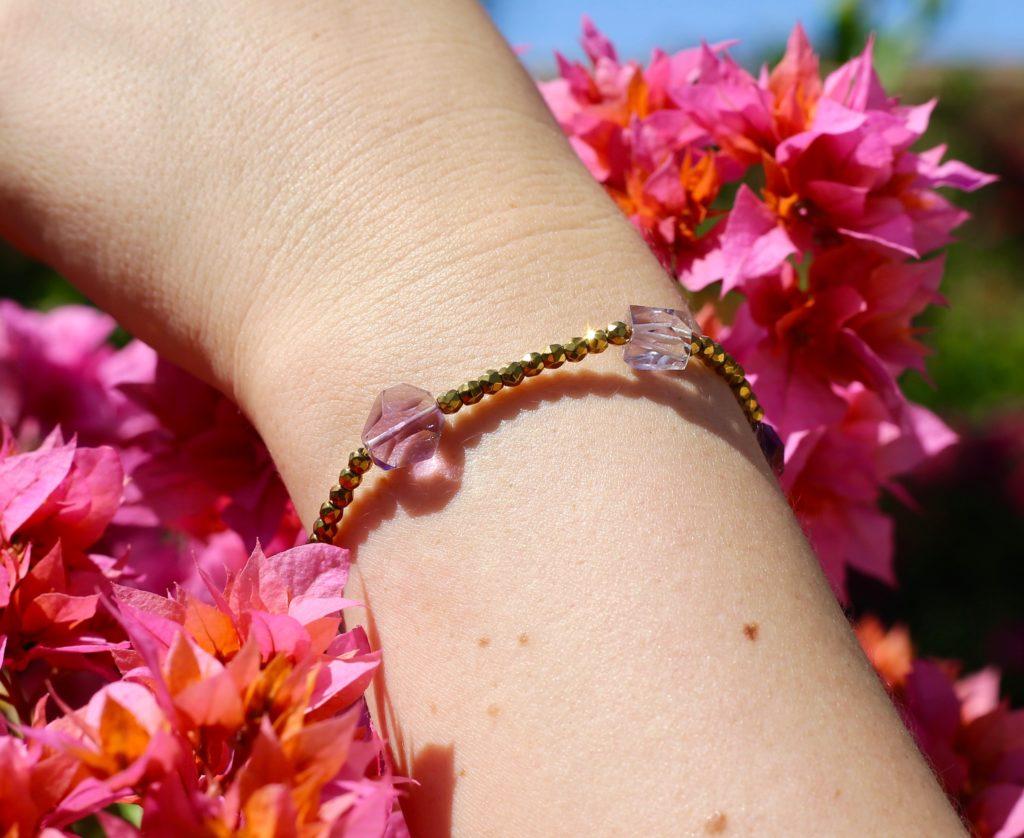 Hematite and amethyst bracelet.