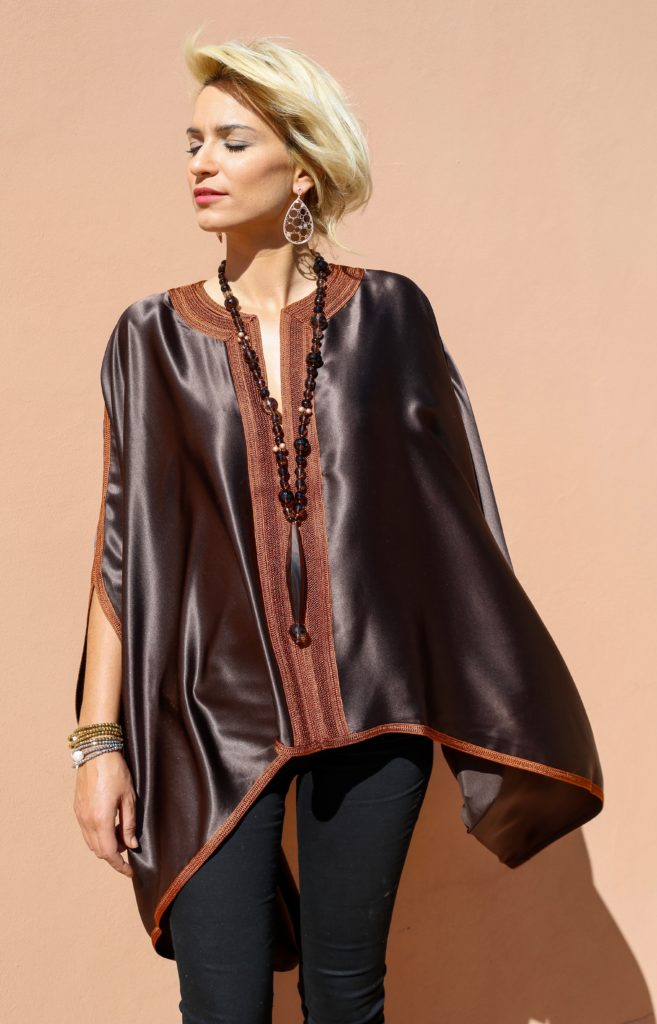 """Silk satin shirt """"miss"""" with Moroccan hand-made embroidery."""