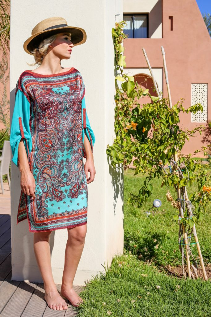 Entirely hand-embroidered silk and muslin tunic.