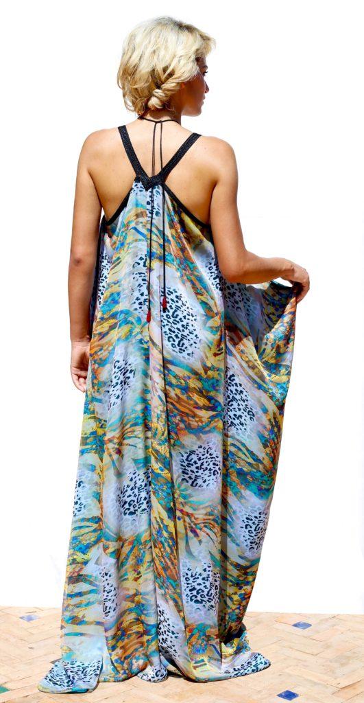 Silk muslin two-way caftan. Moroccan hand-made embroidery. Silk charmeuse lining.