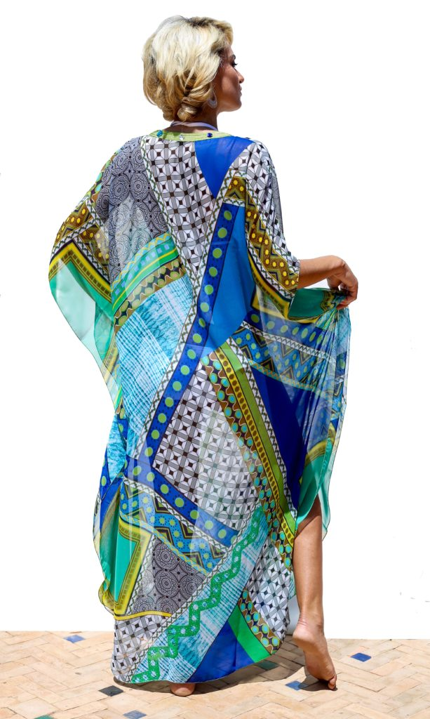 Long cover-up embellished with Moroccan hand-made embroidery and crystal stones.